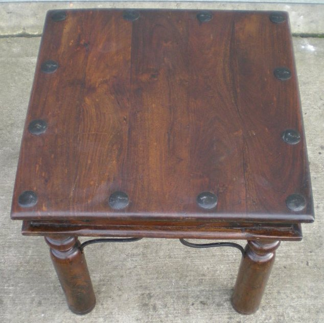Rustic Style Small Stained Beech Coffee Table With Metal